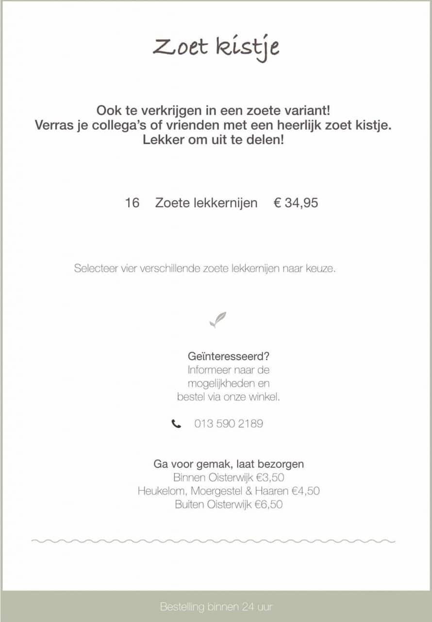 Zoetkistje - traktatie bij Saranne in Oisterwijk